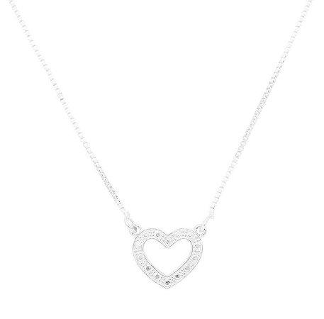 Colar coração banhado em ouro 18k / prata / ródio branco