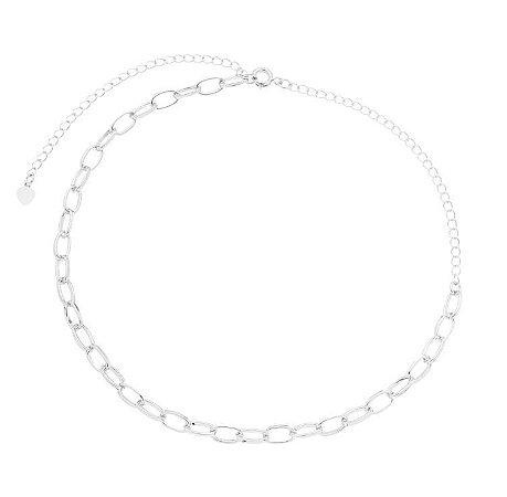 Colar elo oval banhado em ouro 18k / prata / ródio branco (20155)