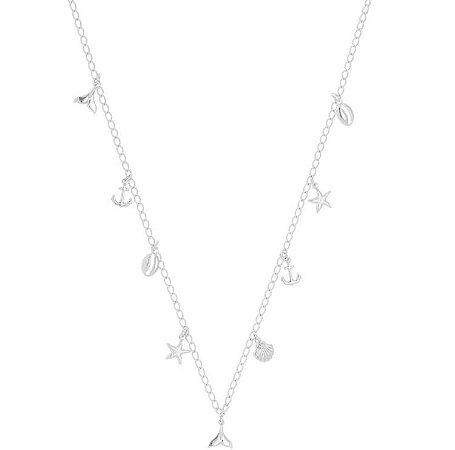 Colar concha/estrela/âncora/rabo de sereia/búzio banhado em ouro 18k / prata / ródio branco (20136)