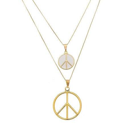 Colar duplo símbolo da paz com resina banhado em ouro 18k (20217)