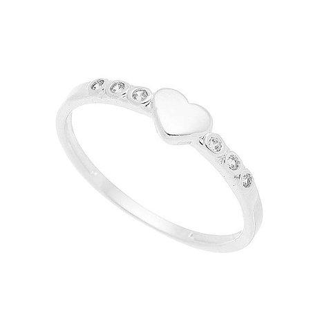 Anel Coração com Zircônias Banhado em Prata ou Ródio Branco