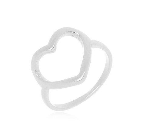 Anel Coração  Banhado em Prata ou Ródio Branco