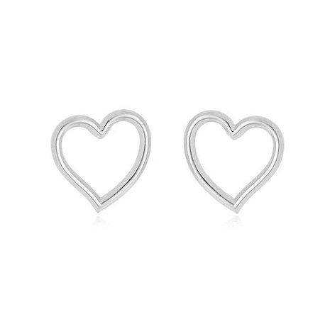 Brinco coração liso banhado em prata ou ródio branco
