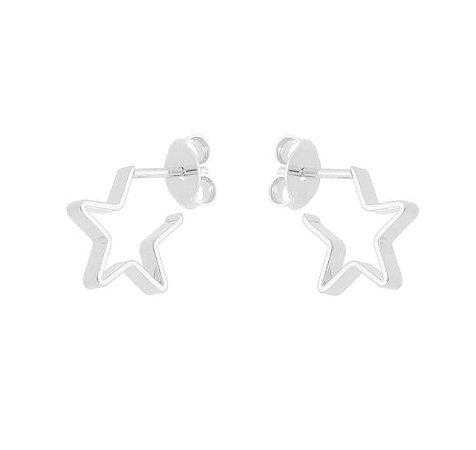 Brinco estrela menor banhado em ouro 18k / prata / ródio branco  (10460)