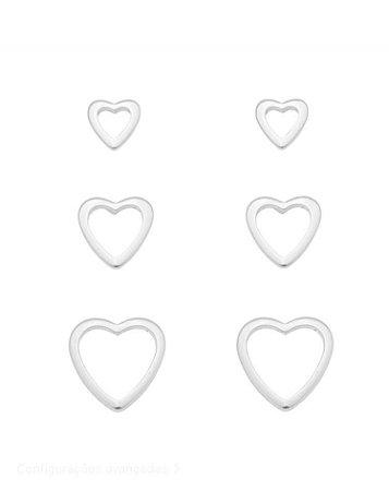 Trio brincos corações vazados Banhado em Prata ou Ródio Branco
