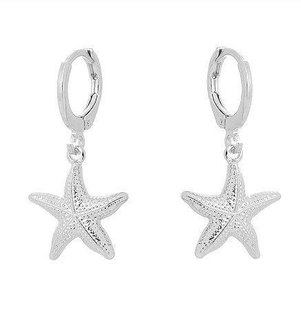 Brinco estrela do mar maior banhado em ouro 18k / prata / ródio branco (10450)