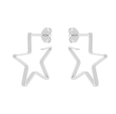 Brinco estrela médio banhado em ouro 18k / prata / ródio branco (10461)