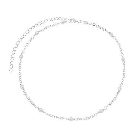 Gargantilha com pérolas banhado em ouro 18k/prata/ródio branco