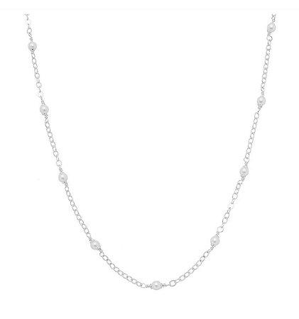 Colar pérolas 50 cm banhado em ouro 18k/prata/ródio branco