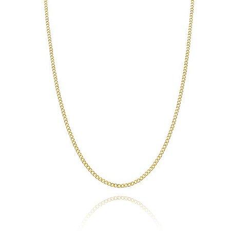 Corrente Groumet curto 50 cm fio5 banhada em ouro 18k/prata/ródio branco