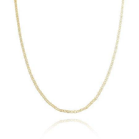 Corrente Piastrini 45 cm banhada em ouro 18k/prata/ródio branco
