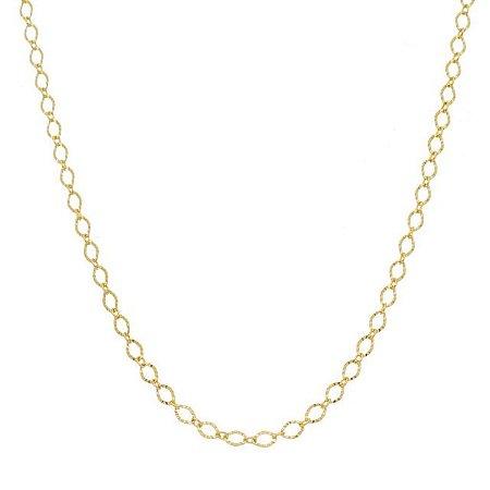 Corrente trabalhada banhada em ouro 18k/prata/ródio branco