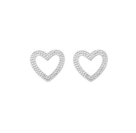 Brinco coração banhado em ouro 18k/prata/ródio branco