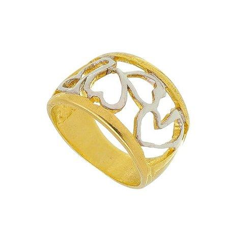 Anel Corações Grosso banhado em ouro 18k/prata/ródio branco