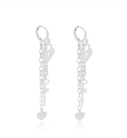 Brinco correntes cadeado coração banhado em ouro 18k prata ou ródio branco