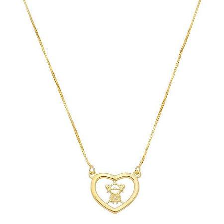 Colar Coração Filha banhado em ouro 18k prata ou ródio