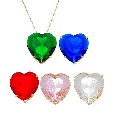 Colar coração zircônia maior banhado em ouro 18k prata ou ródio branco
