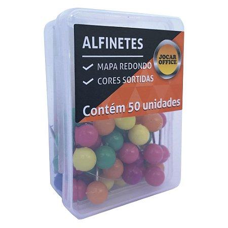 ALFINETE PARA MAPA REDONDO CX COM 50 UN - CORES SORTIDAS