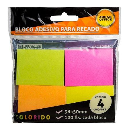 BLOCO ADESIVO PARA RECADO NEON 38MM X 50MM - COM 4 CORES
