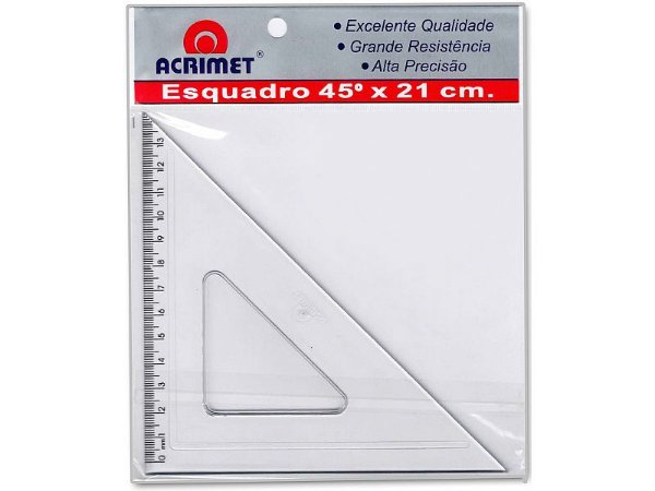 ESQUADRO 45º COM 21 CM - CRISTAL - BLISTER COM 1 UN