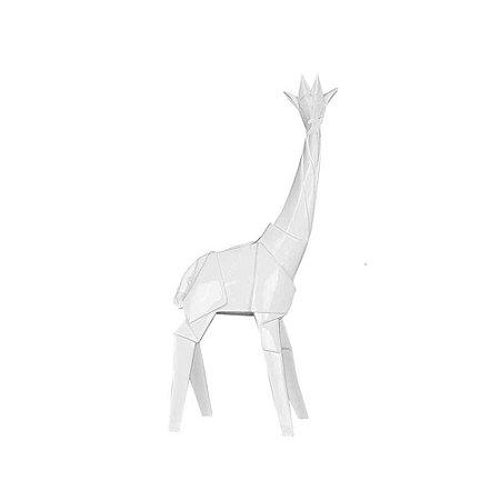 Estatueta Pequena em Resina Origami Giraffe Branco 20X38CM