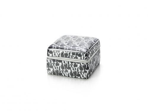 Caixa Decorativa Cerâmica Quadrada Preto e Branco 10X6X10CM