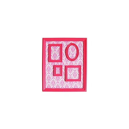 Quadro Magnético de Plástico Porta Retratos Barroque Frame Rosa 46,5X56,5CM