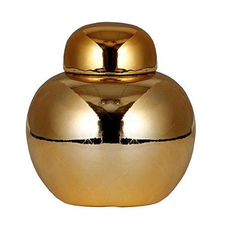 Pote Cerâmica com Tampa Ball Chinese Style Dourado 10X11CM