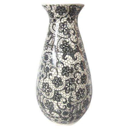 Vaso Cerâmica Dark Full Black Laces Fundo Branco 15X30CM