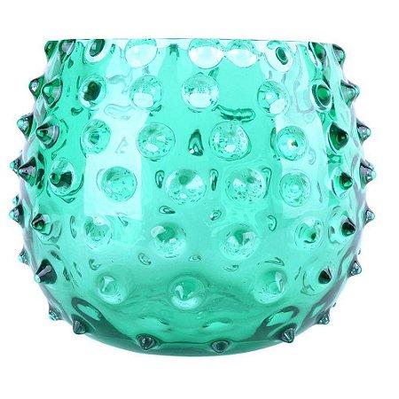 Vaso Decorativo em Vidro Verde 22X19CM