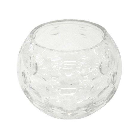 Vaso de Cristal Redondo com Alto Relevo de Círculos 15X12CM