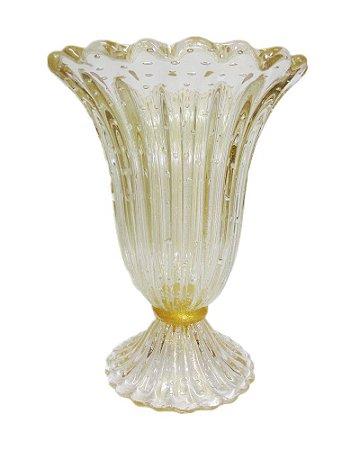 Vaso de Cristal Murano Transparente com Ouro 29x40cm