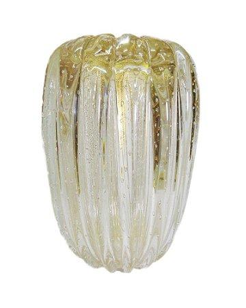 Vaso Cristal Transparente com Ouro Murano