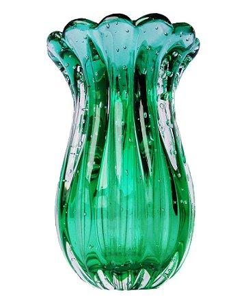 Vaso de Cristal Murano Verde Esmeralda sem Ouro M408