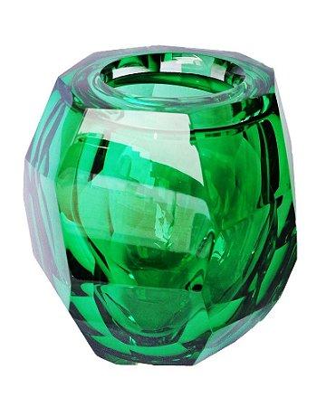 Vaso de Cristal Murano Verde Esmeralda sem Ouro