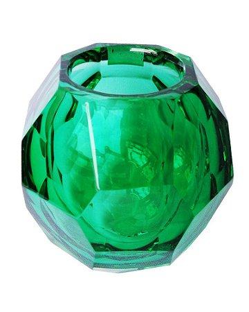 Castiçal de Cristal Murano Verde Esmeralda sem Ouro