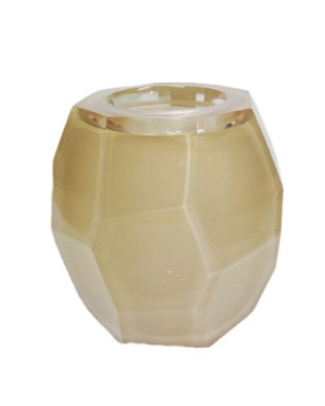 Vaso Facetado de Cristal Murano Palha 16x17cm