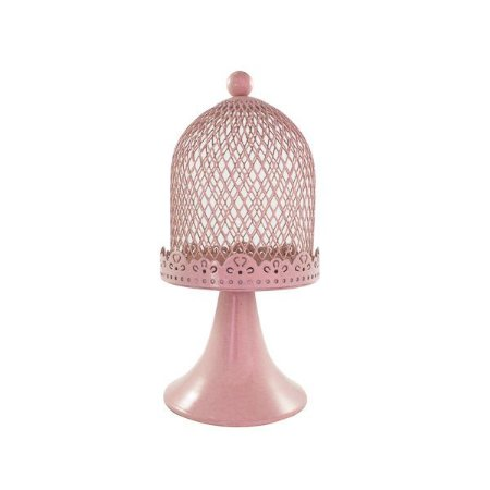 Mini Gaiola de Metal com Base Rosa
