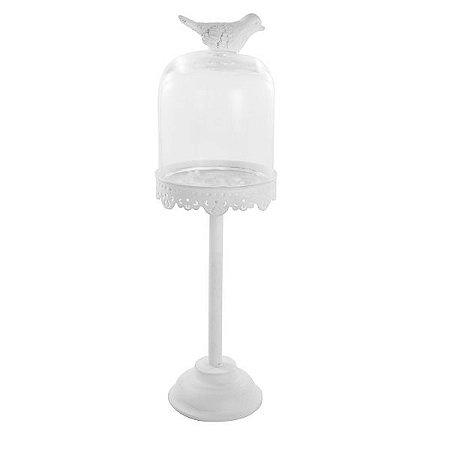 Pedestal Alto Pássaro com Cúpula de Vidro Branco