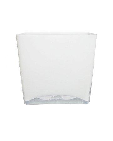 Vaso de Vidro Branco 18,5x20x10cm