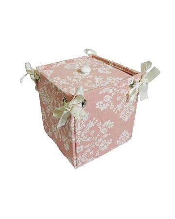 Caixa Pote Tecido Rosa