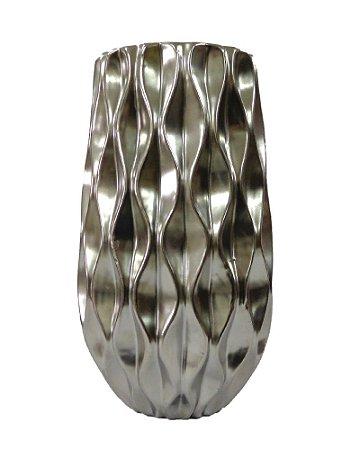 Vaso de Cerâmica Redondo Prata com Relevo Ondas 17x30cm