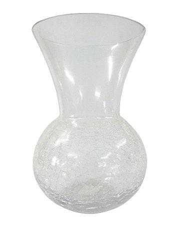 Vaso de Vidro Redondo Craquelado Transparente 11x18cm