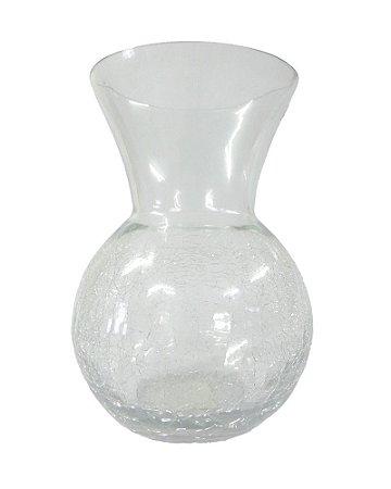 Vaso Redondo de Vidro Craquelado Transparente 14x22cm