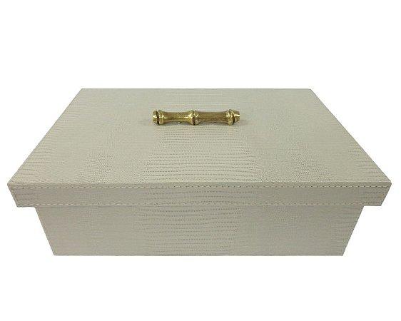 Caixa em Galuchat Bege Decorativa 33x22x10cm
