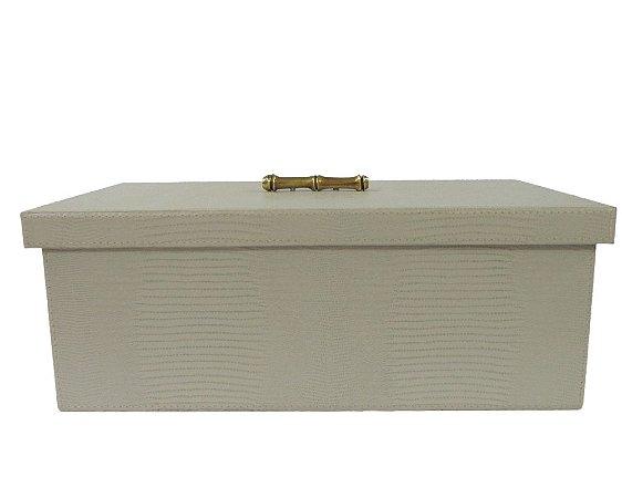 Caixa Decorativa em Galuchat com Tampa e Puxador Bege 42x27x15cm