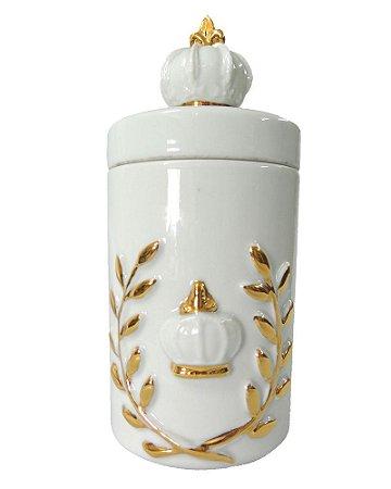 Pote Porcelana Brasão Coroa M 9x20cm