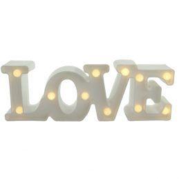Luminária LOVE Pequena Branco com Leds 20x12cm