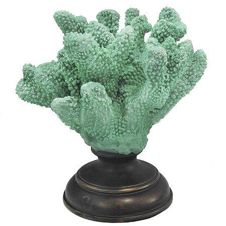 Coral Decorativo em Resina Verde 19x19x15cm