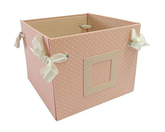 Caixa Cesta Rosa com Bolinhas 16x12x16cm